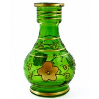 "7"" Green Floral Hookah Bottle Base"
