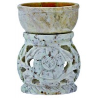 "3.5"" Floral Carved Soapstone Aroma Lamp SBR210"