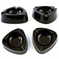 "10ct 4.5"" Black Triangle Plastic Ashtray"