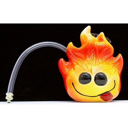"""6"""" Twisted Ceramic 1H Fireball Water Pipe"""