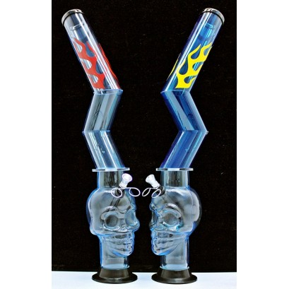 """21"""" Acrylic Z Flame Skull Water Pipe"""