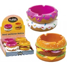Donut and Hamburger Polystone Ashtray 4pk