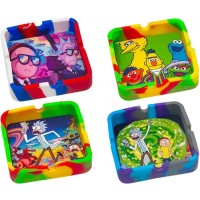 """5ct 3"""" Square Silicone Character Ashtray Assortment"""