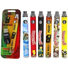 6ct Backwoods Bob Marley Twist 1100mAh Battery with Charger Assortment