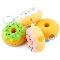 10ct Donut Silicone Keychain Hand Pipe With Glass Bowl