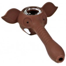 4ct Elephant Trunk Silicone Hand Pipe With Glass Bowl