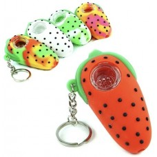 """3"""" Strawberry Silicone Keychain Hand Pipe"""
