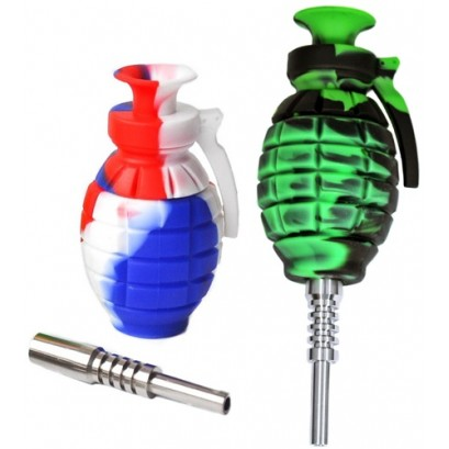 """3ct 6"""" Grenade Silicone Nectar Collector Assortment"""
