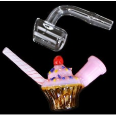 "3"" Mini Cupcake 10mm Water Pipe With Banger"