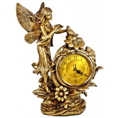 Gold Clock - An Angel and Dove