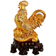 """16"""" Gold Rooster Statue"""