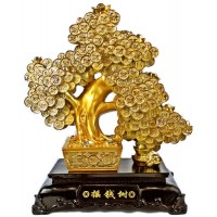 "16"" Gold Money Tree Statue"