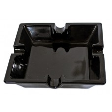 Cigar Ashtray - Square Black Glass 6.5""