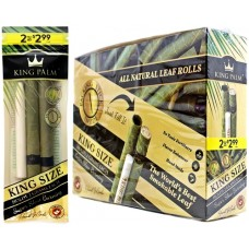 King Palm Natural Leaf Rolls - King Size 2pk Pre-Priced $2.99 - 20ct Display