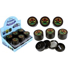 Rasta Leaf 4pc Tobacco Metal Grinder 12pk - 50mm