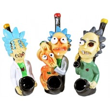 "3ct 4"" Rick and Morty Resin Novelty Pipe Assortment"