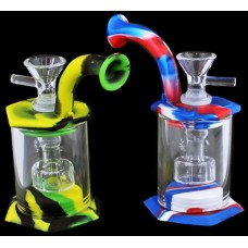 """2ct 5"""" Silicone Octagonal Glass Shower Perk Water Pipe"""