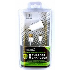 Vehicle USB Charger Kit With USB Data Cable for iPhone 5